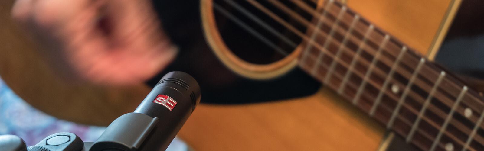 image of mic'd acoustic guitar