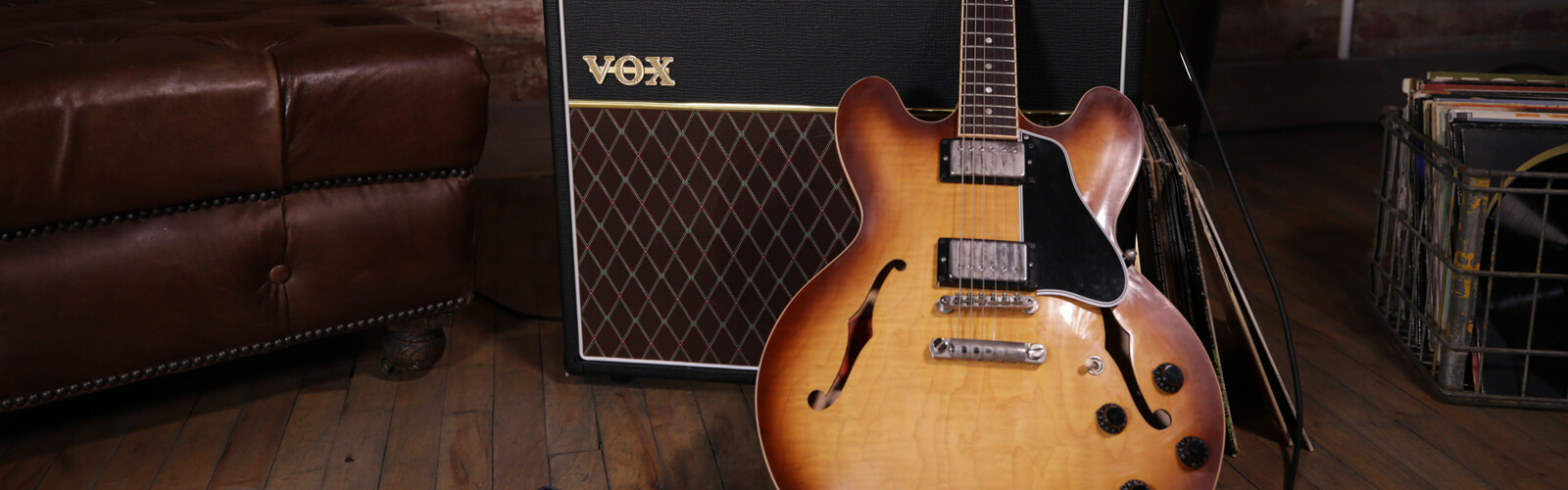 VOX amplifier and hollow body electric guitar