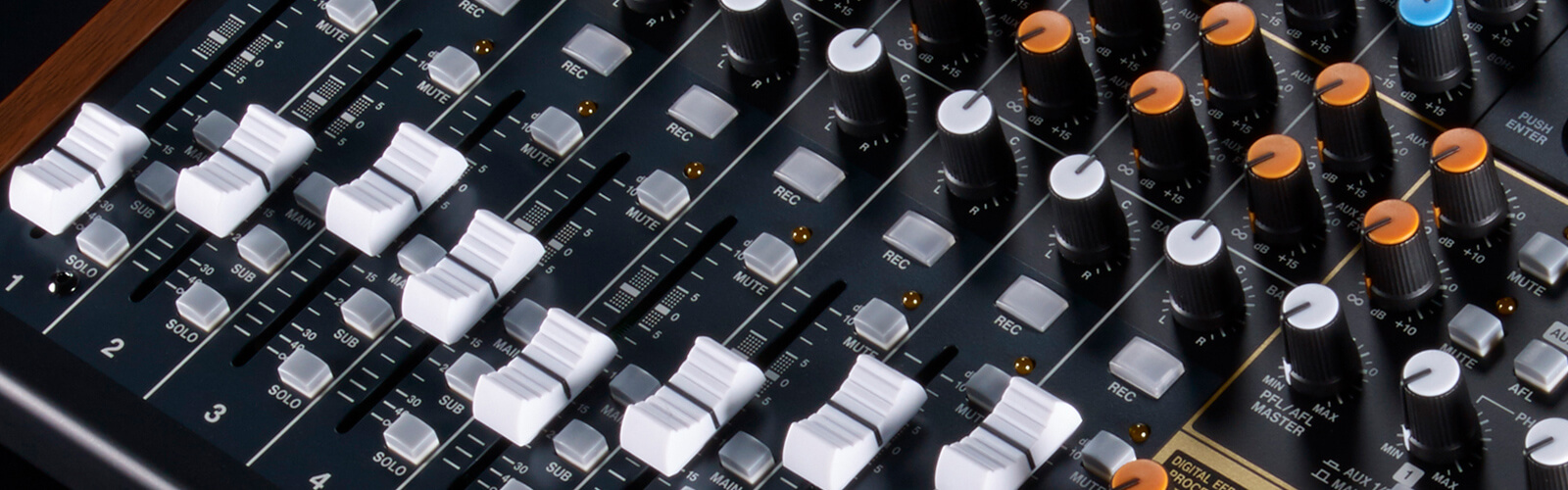 close up of mixing board