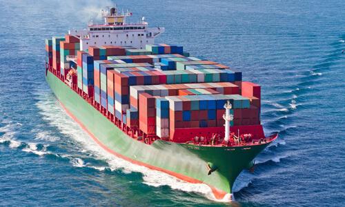 conatiner ship under way